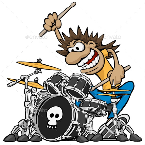 Wild Drummer Playing Drum Set Cartoon Vector Illustration - People Characters