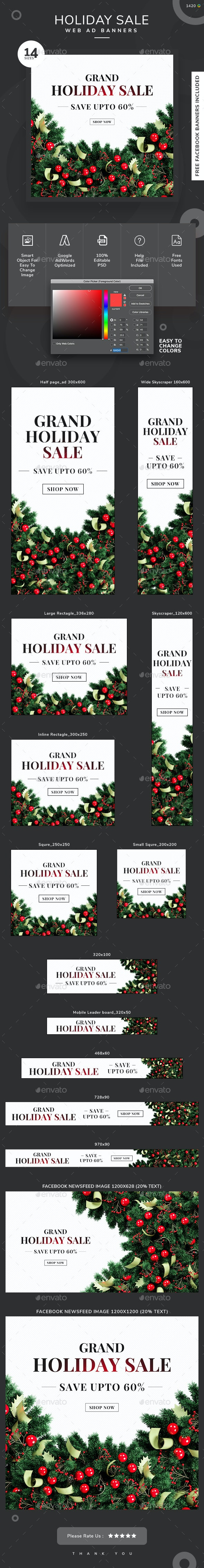 Holiday Sale Web Banner Set - Banners & Ads Web Elements