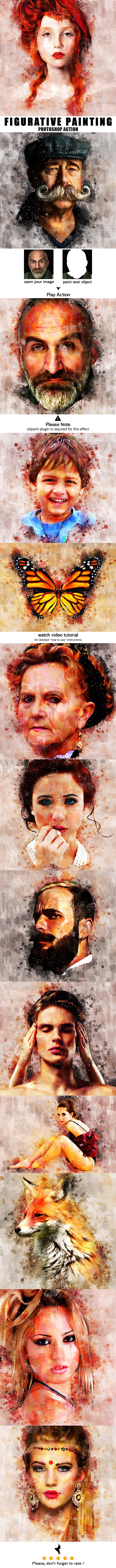 Figurative Painting - Photoshop Action - Photo Effects Actions