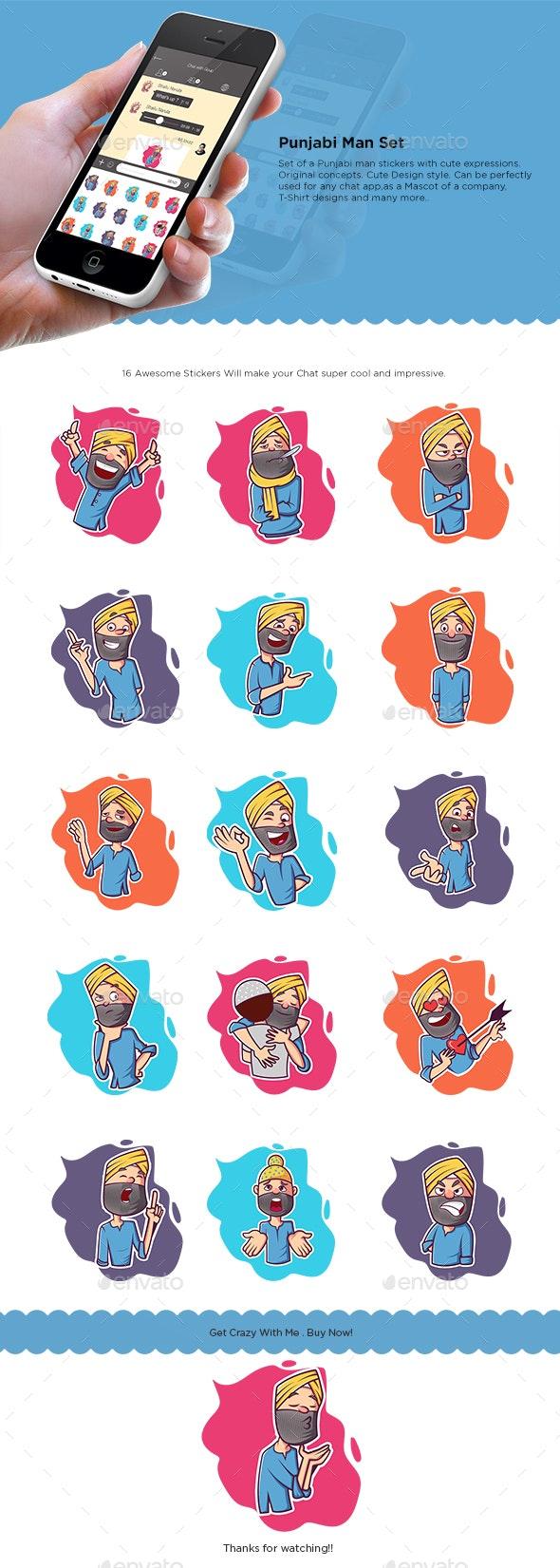 Cartoon Punjabi Man Sticker Set - People Characters