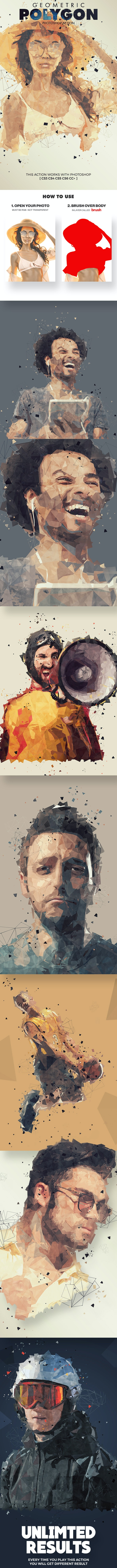 Geometric Polygon Photoshop Action - Photo Effects Actions