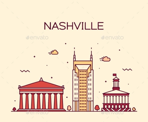 Nashville Skyline Tennessee USA Vector Linear City - Buildings Objects