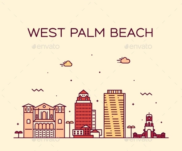 West Palm Beach Skyline Florida USA Vector Linear - Buildings Objects