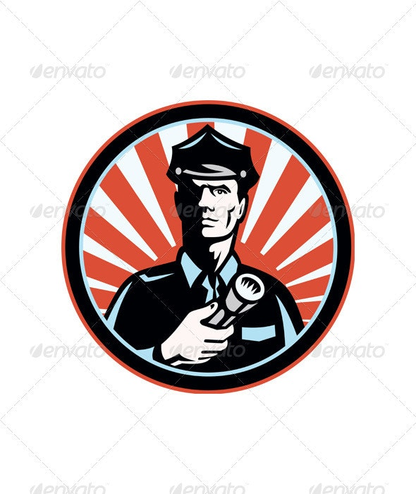 Policeman Security Guard With Flashlight Retro - Industries Business