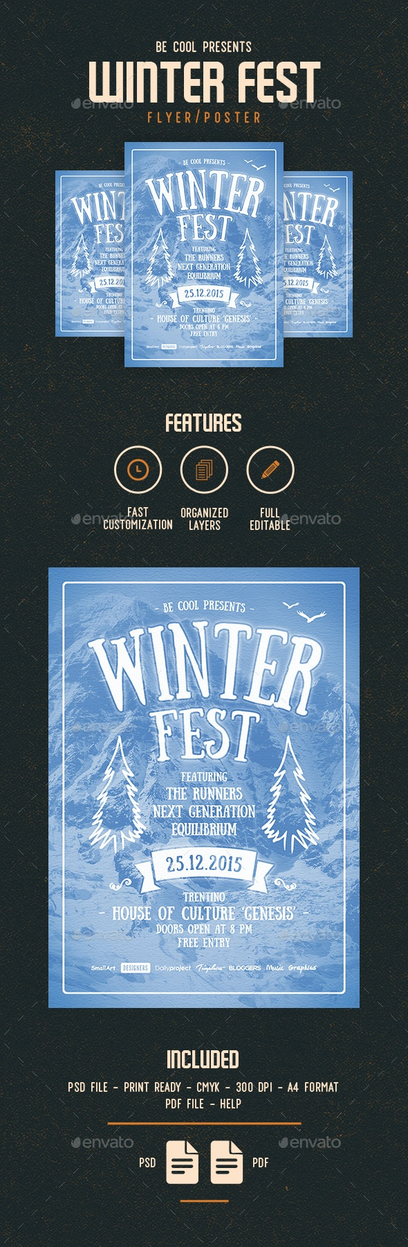 Winter Festival Flyer/Poster - Concerts Events