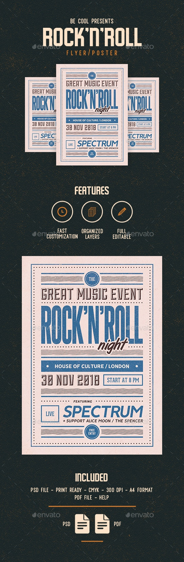 Rock'n'Roll Flyer/Poster - Concerts Events