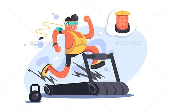 Cartoon Boy Running on Treadmill - Sports/Activity Conceptual
