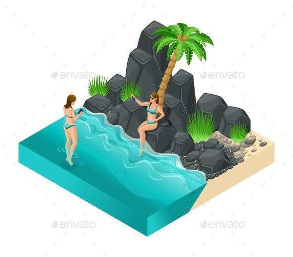 Isometric Girl in a Bright Swimsuit in Beach Sea - Seasons/Holidays Conceptual
