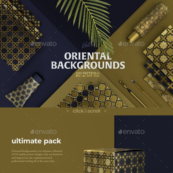 Oriental Backgrounds – 200 decorative patterns collection
