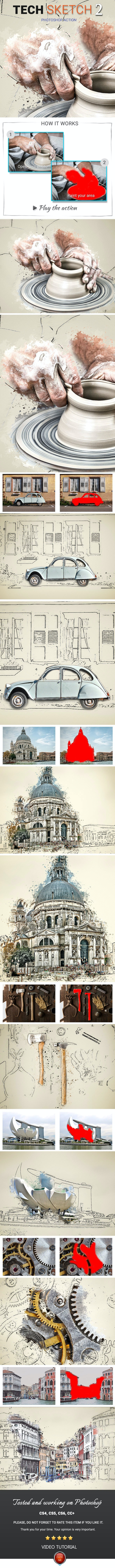 Tech Sketch2 Photoshop Action - Photo Effects Actions