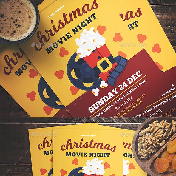 Christmas Movie Night Flyer