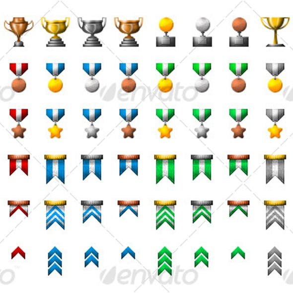 Medals and Trophies Icon Set!