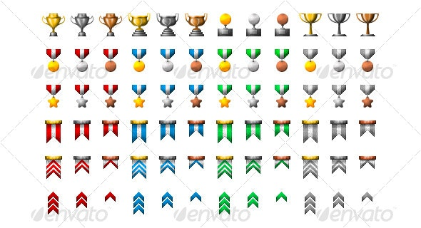 Medals and Trophies Icon Set! - Web Icons