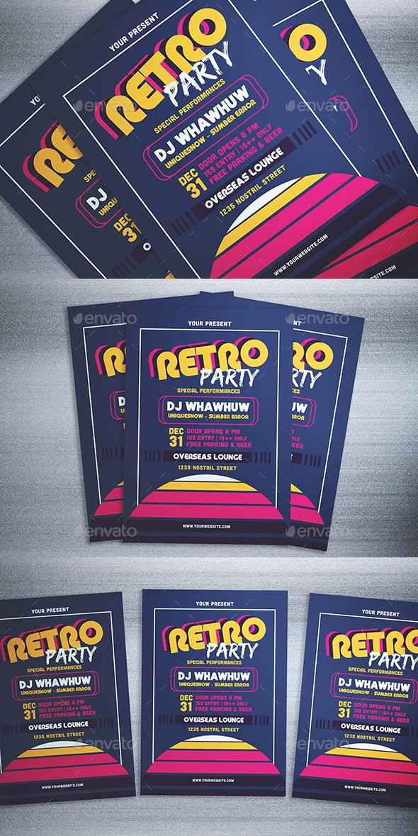 Retro Party Flyer - Events Flyers