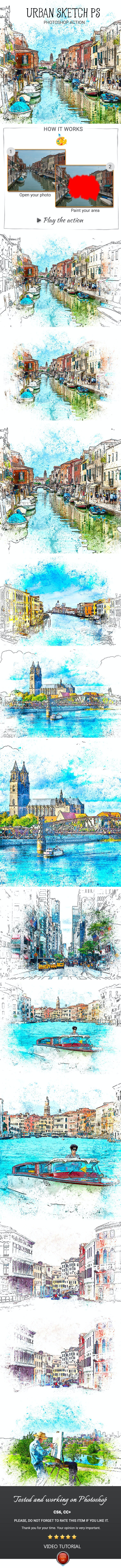 Urban Sketch PS Photoshop Action - Photo Effects Actions