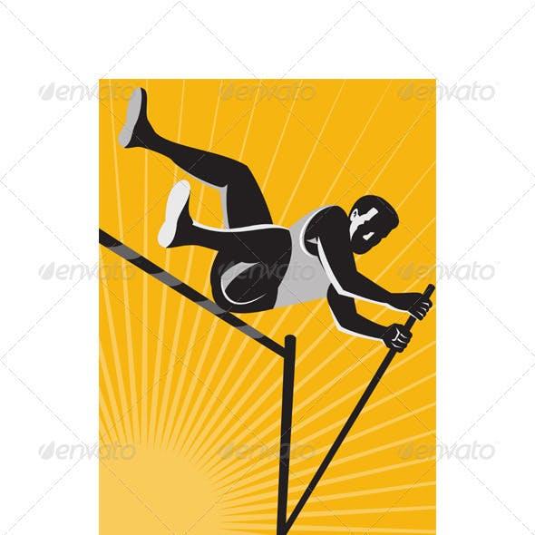 Track and Field Athlete Pole Vault High Jump Retro