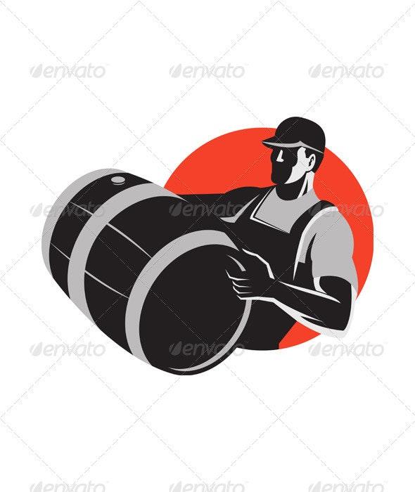 Man Carrying Wine Barrel Cask Keg Retro - Industries Business