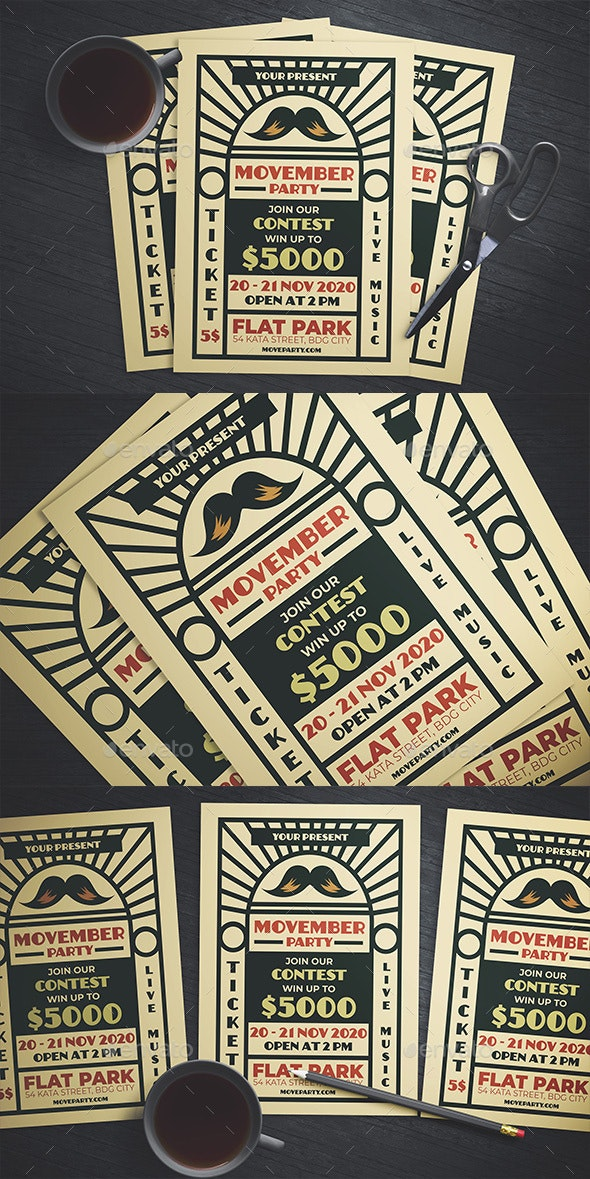 Movember Party Flyer - Events Flyers