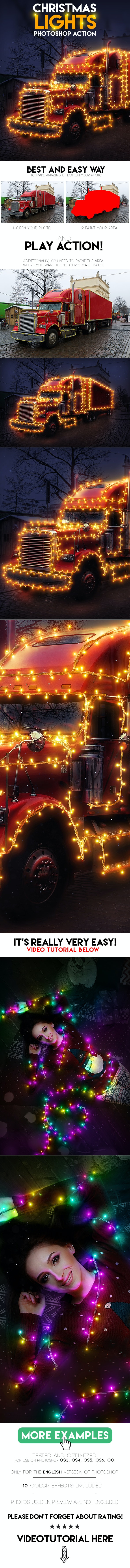 Christmas Lights Photoshop Action - Photo Effects Actions