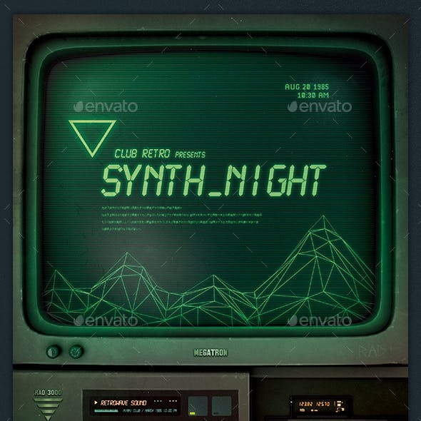 Synthwave Flyer v11 Retrowave 1980s Electro Cyberpunk Template