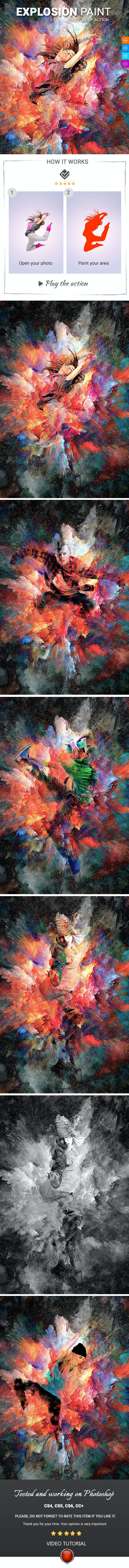Explosion Paint Photoshop Action - Photo Effects Actions