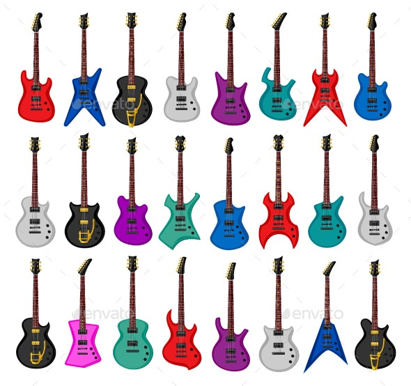 Set of Electric Guitars - Man-made Objects Objects