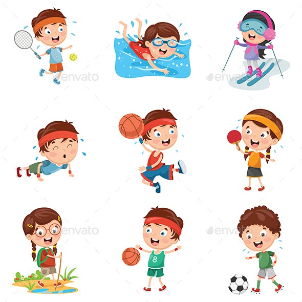 Vector Illustration of Kids Playing Sports - Sports/Activity Conceptual