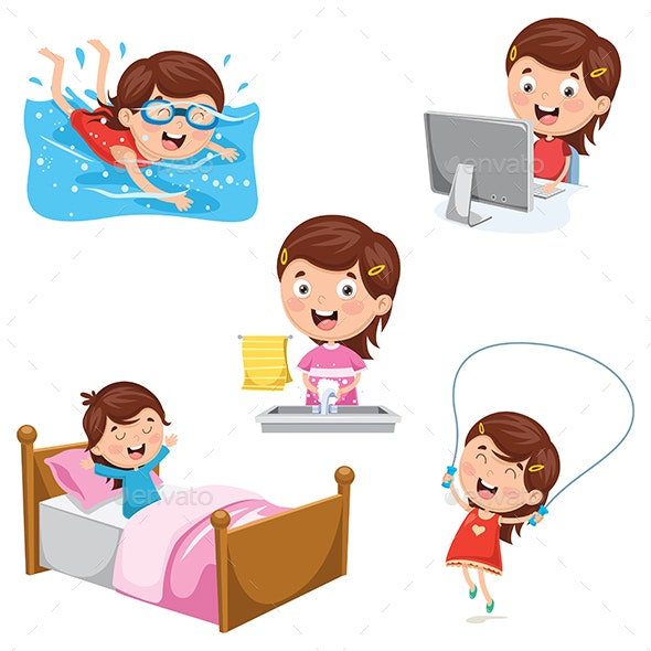 Vector Illustration of Kids Daily Routine Activities - People Characters