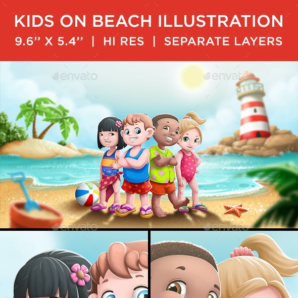 Kids on Beach Illustration