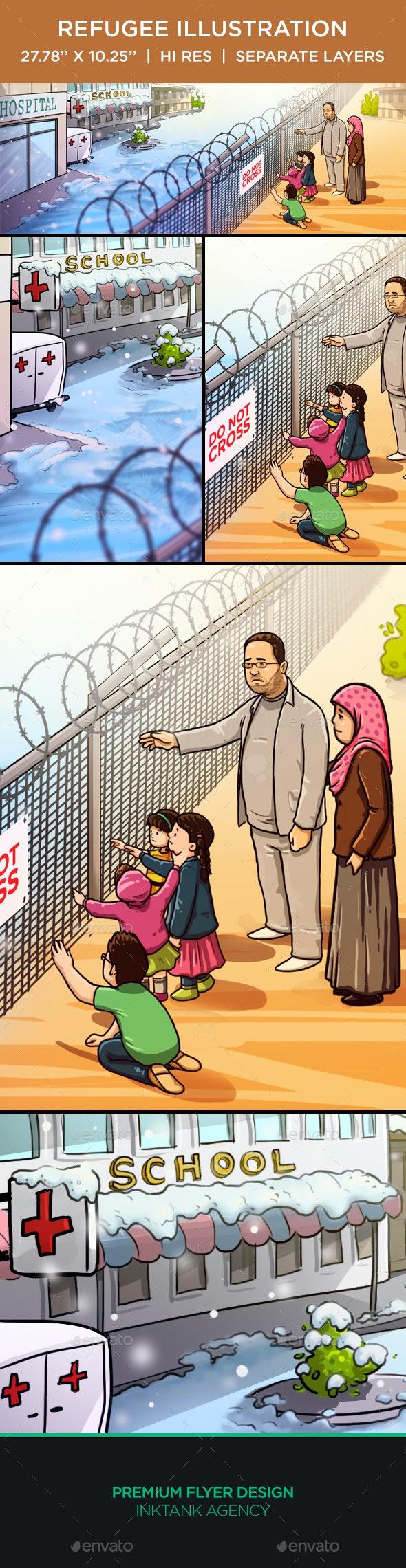 Refugee Illustration - Scenes Illustrations