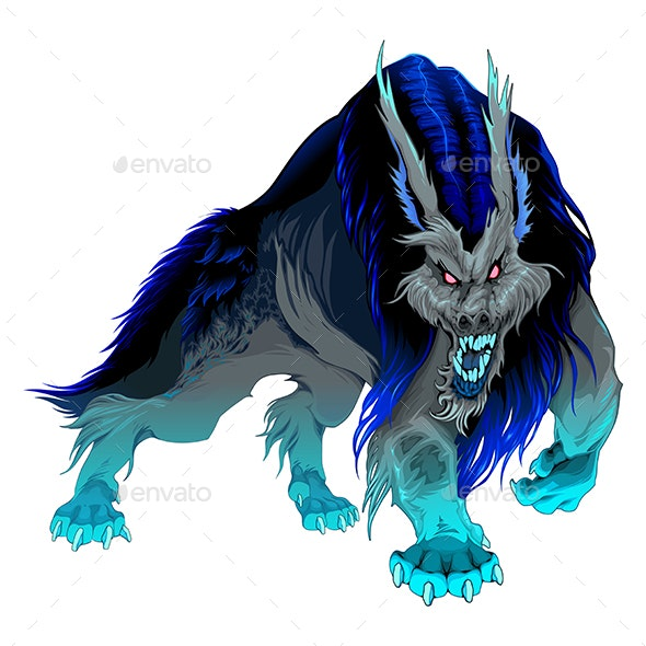 Furious Werewolf with Black and Blue Mane - Monsters Characters