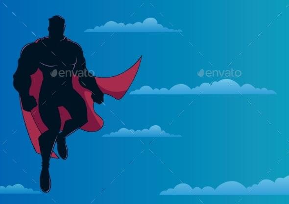 Superhero Flying in Sky - People Characters