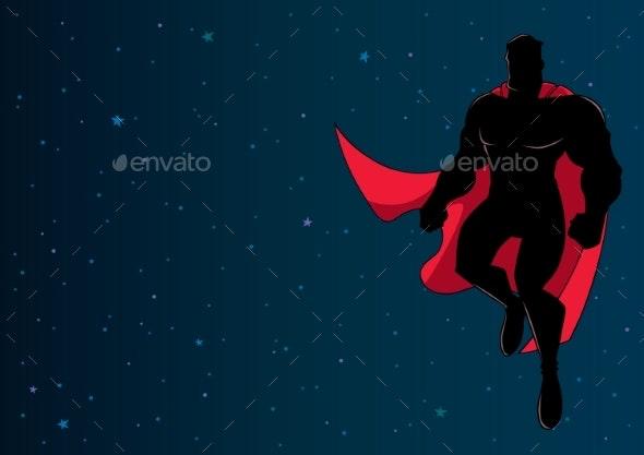 Superhero Flying in Space Silhouette - People Characters