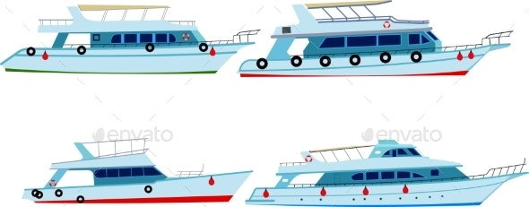 Set of Motor Yachts - Man-made Objects Objects