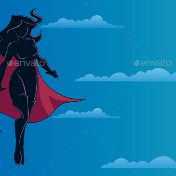Superheroine Flying in Sky Silhouette