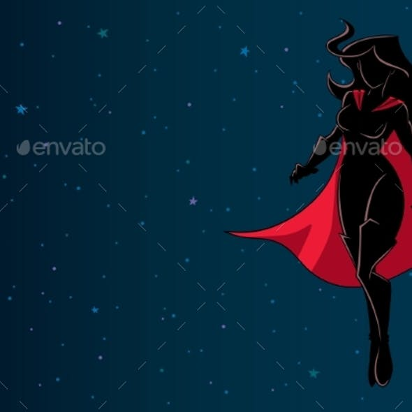 Superheroine Flying in Space Silhouette
