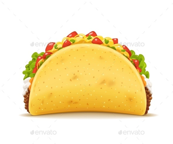 Tacos with Meat and Vegetable - Food Objects