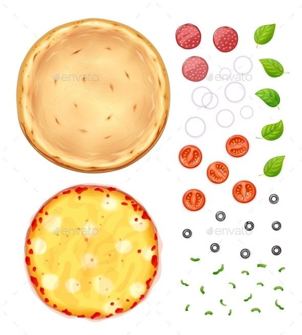 Fresh Pizza with Toppings - Food Objects