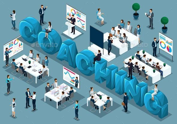 Isometric Concept of Training Staff 3D People - Buildings Objects