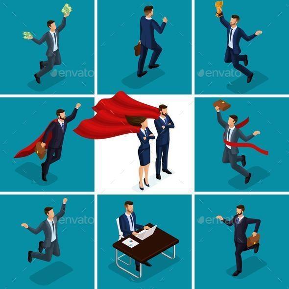 Isometric 3d Businessmen - Business Conceptual