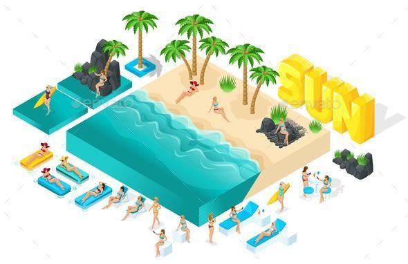 Isometric People 3d Girl in Bathing Suits Beach - Seasons/Holidays Conceptual