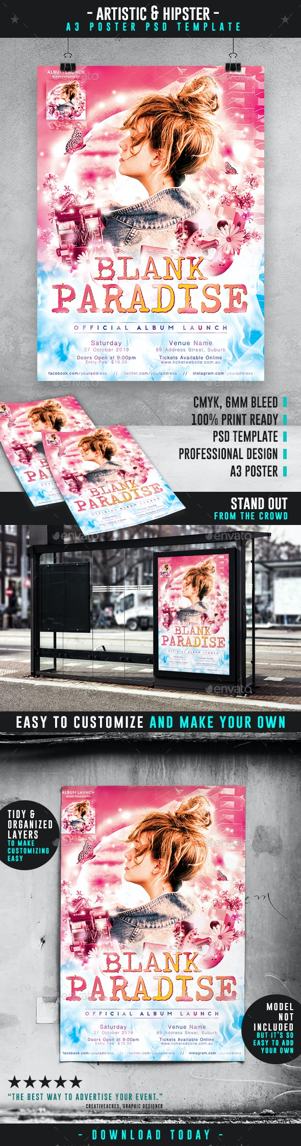 Bright Album Launch Event A3 Poster Template - Events Flyers