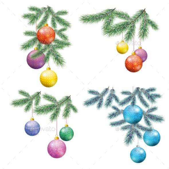 Christmas Background with Fir and Balls - Christmas Seasons/Holidays