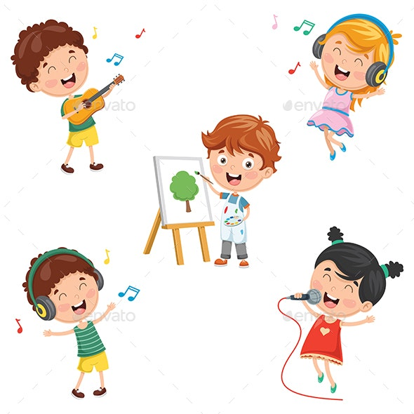 Vector Illustration of Kids Making Art Performance - People Characters