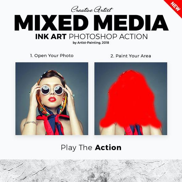 Mixed Media Ink Art Photoshop Action