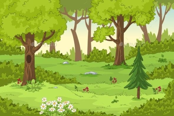 Cartoon Summer Landscape - Flowers & Plants Nature