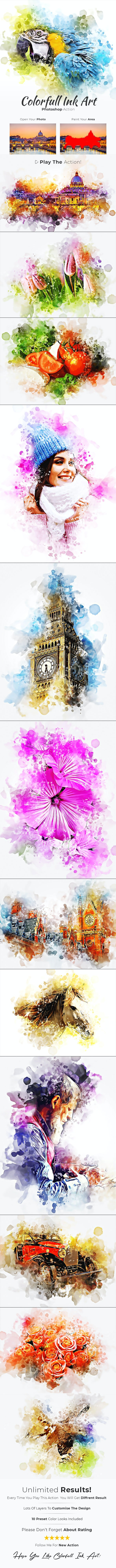 Colorfull Ink Art Photoshop Action - Photo Effects Actions