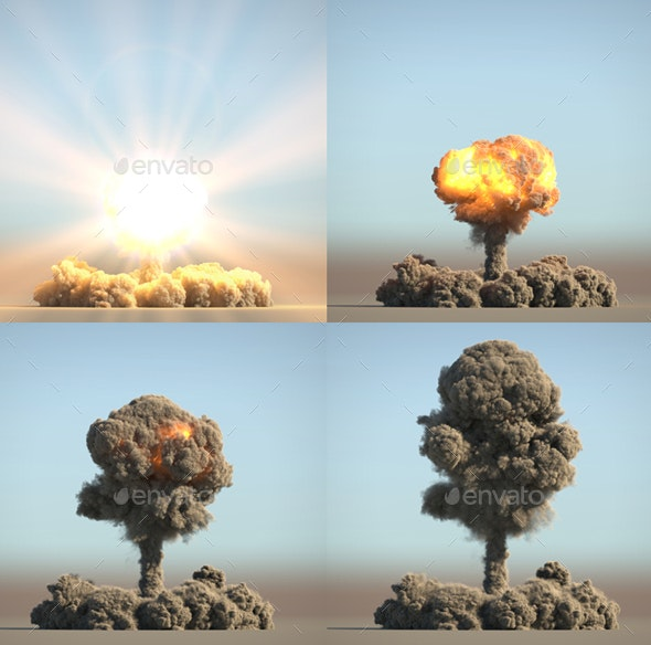 Nuclear Explosion on Blue Background - 3D Backgrounds