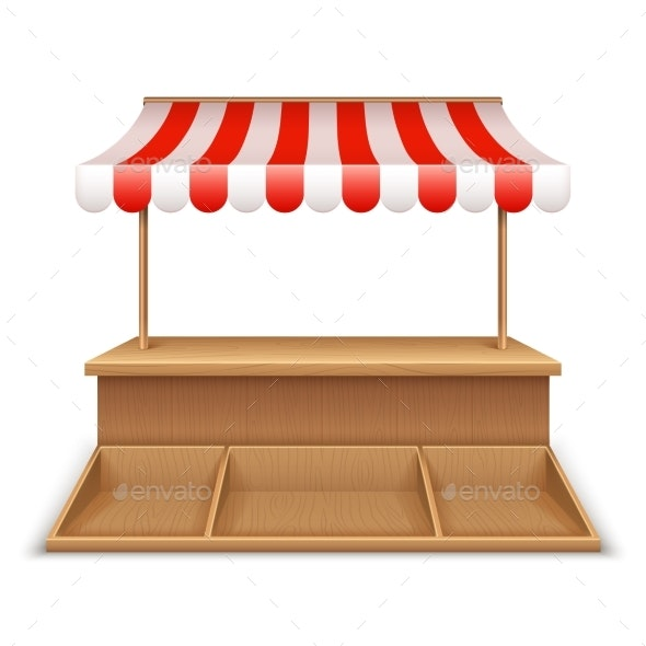 Empty Market Stall. Wooden Kiosk, Street Grocery - Business Conceptual