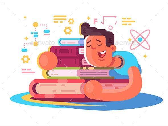 Cartoon Man Reading Many Books - Miscellaneous Vectors